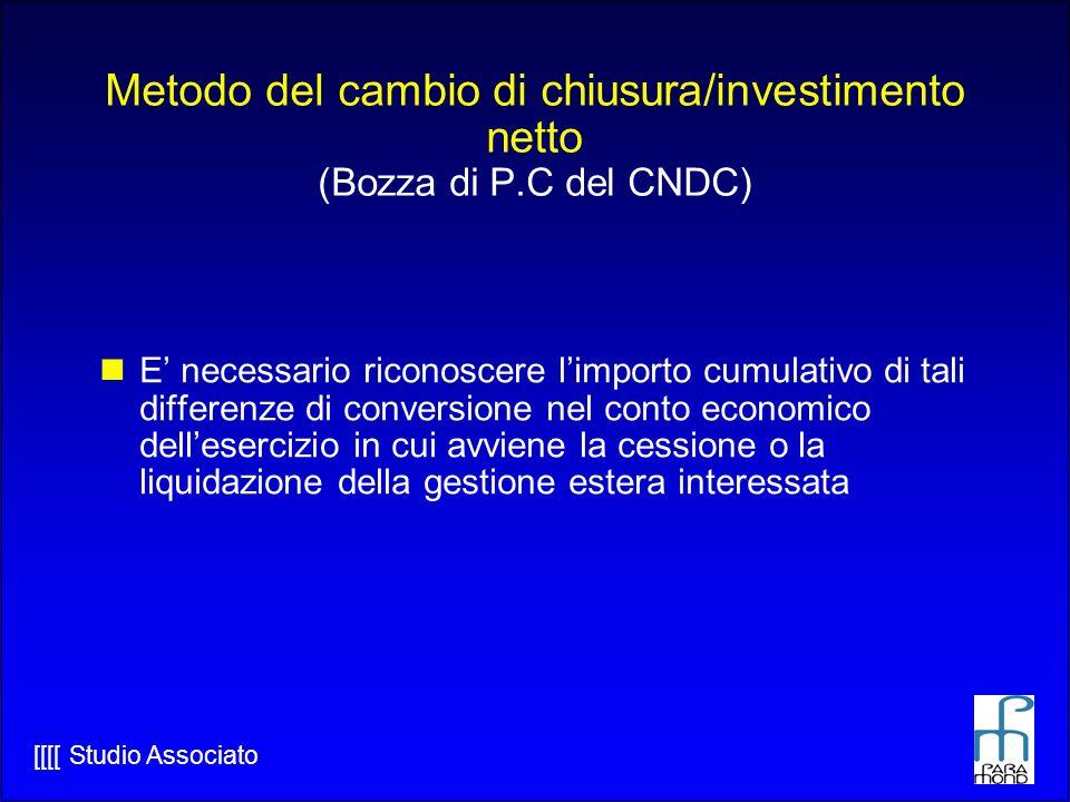 Metodo del cambio di chiusura/investimento netto (Bozza di P