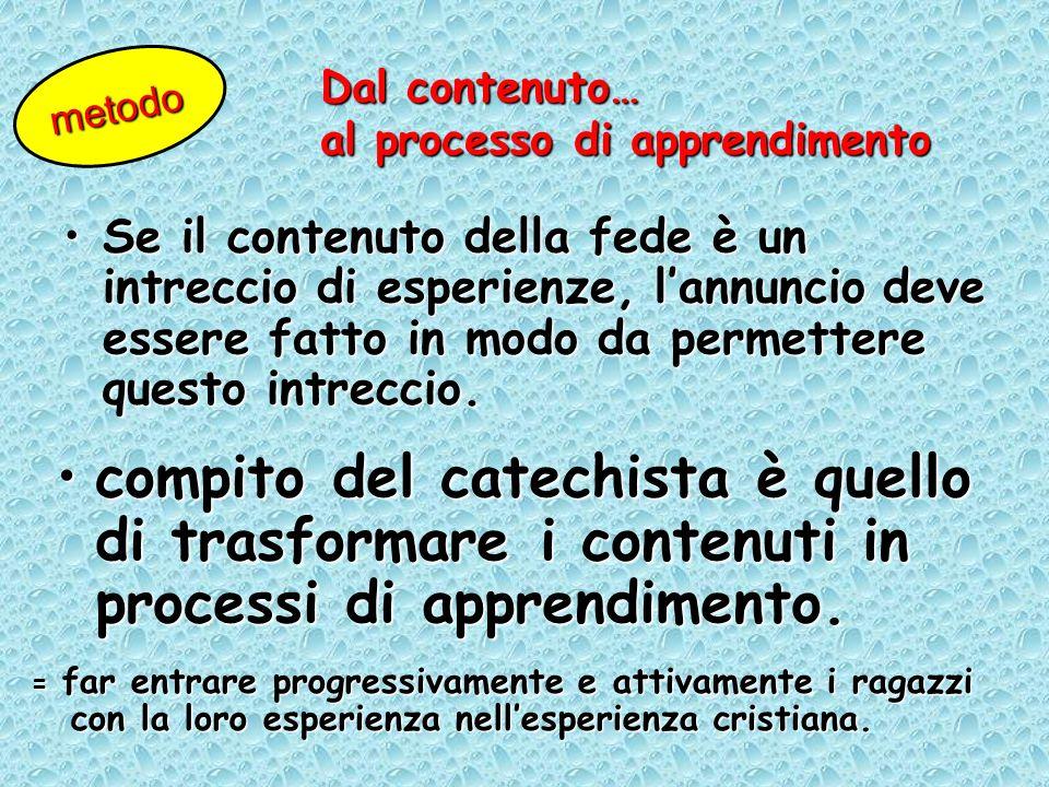 Dal contenuto… al processo di apprendimento. metodo.