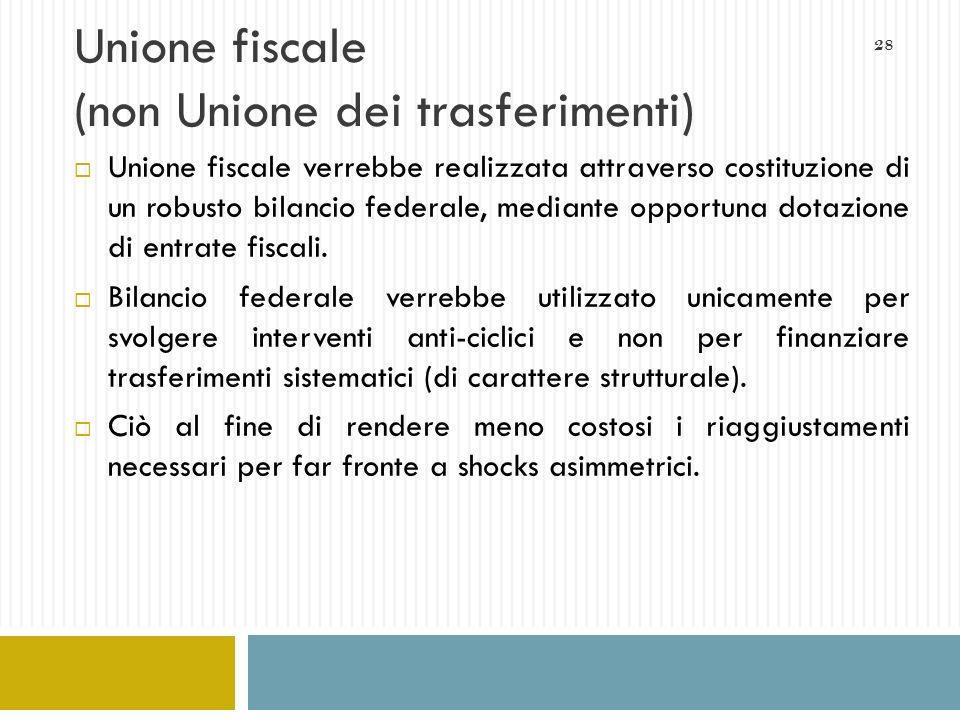 Unione fiscale (non Unione dei trasferimenti)