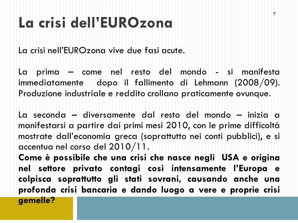 La crisi dell'EUROzona