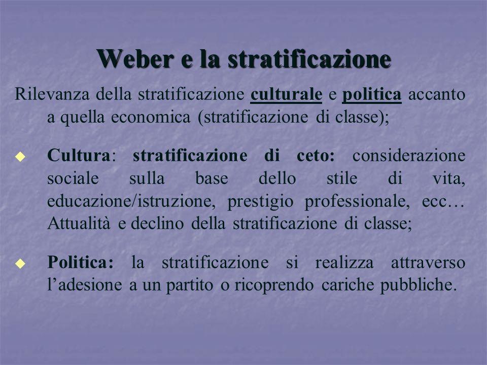 Weber e la stratificazione