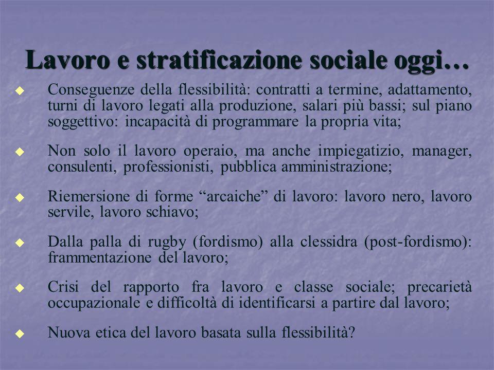 Lavoro e stratificazione sociale oggi…