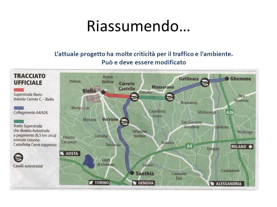 Riassumendo… L'attuale progetto ha molte criticità per il traffico e l'ambiente.