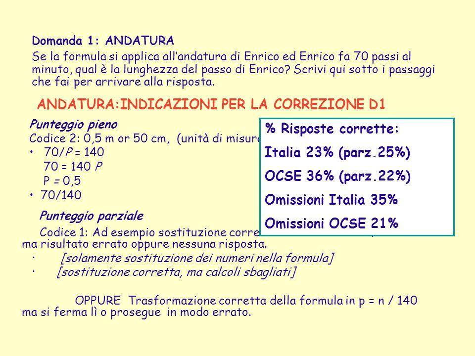 Punteggio parziale ANDATURA:INDICAZIONI PER LA CORREZIONE D1
