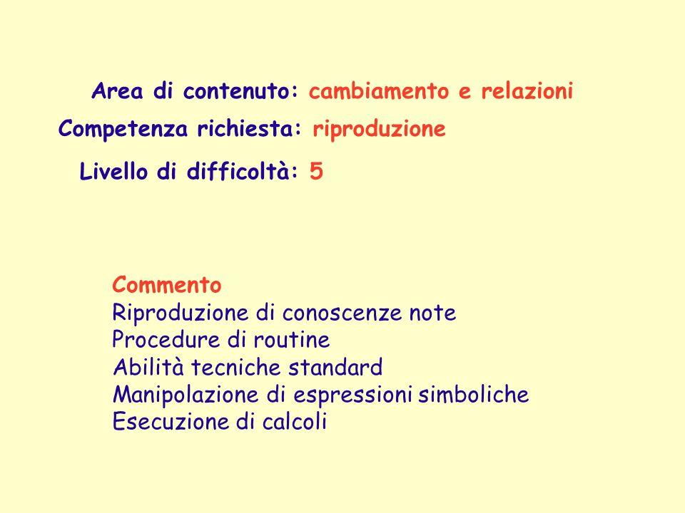 Area di contenuto: cambiamento e relazioni