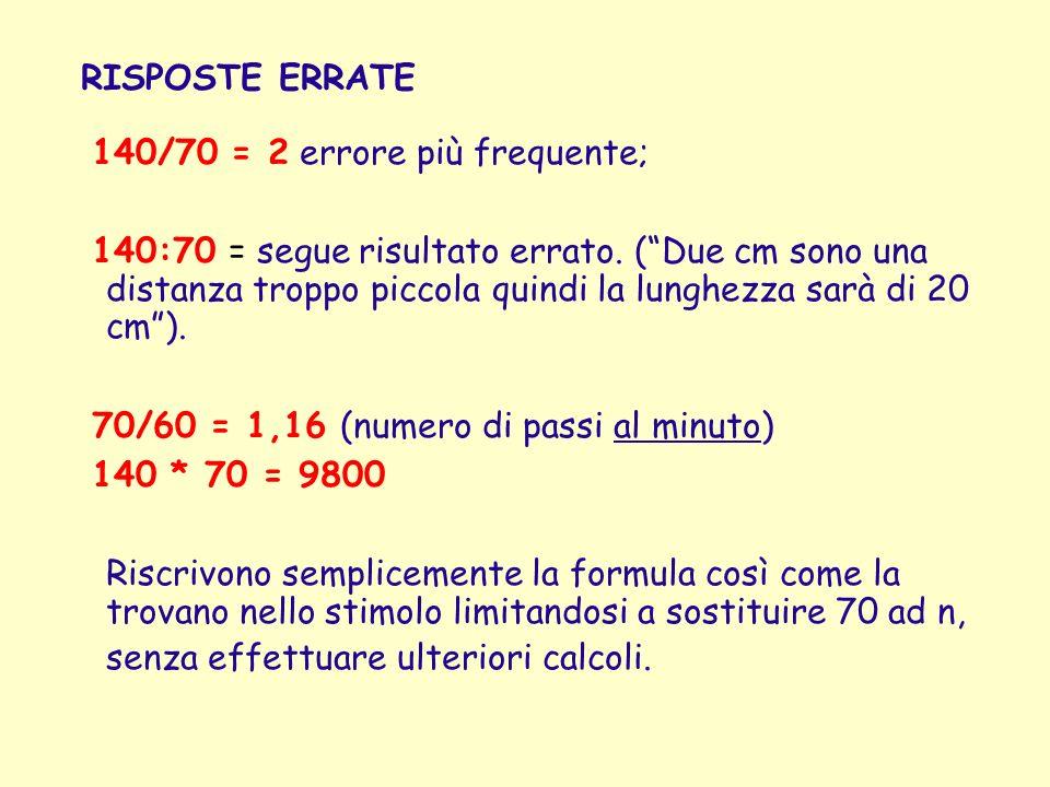RISPOSTE ERRATE 140/70 = 2 errore più frequente;