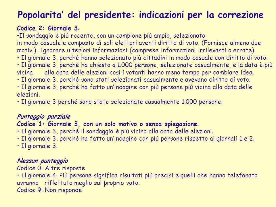 Popolarita' del presidente: indicazioni per la correzione