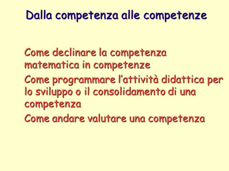 Dalla competenza alle competenze