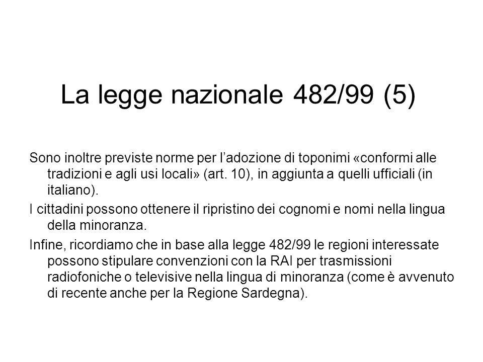 La legge nazionale 482/99 (5)