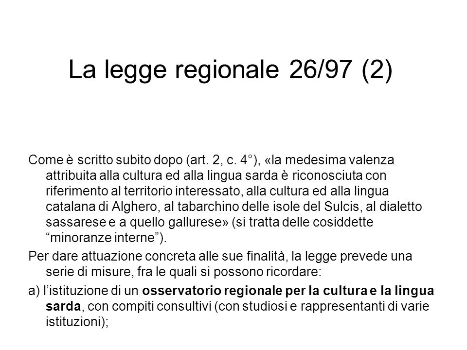La legge regionale 26/97 (2)
