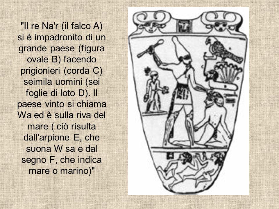 Il re Na r (il falco A) si è impadronito di un grande paese (figura ovale B) facendo prigionieri (corda C) seimila uomini (sei foglie di loto D).