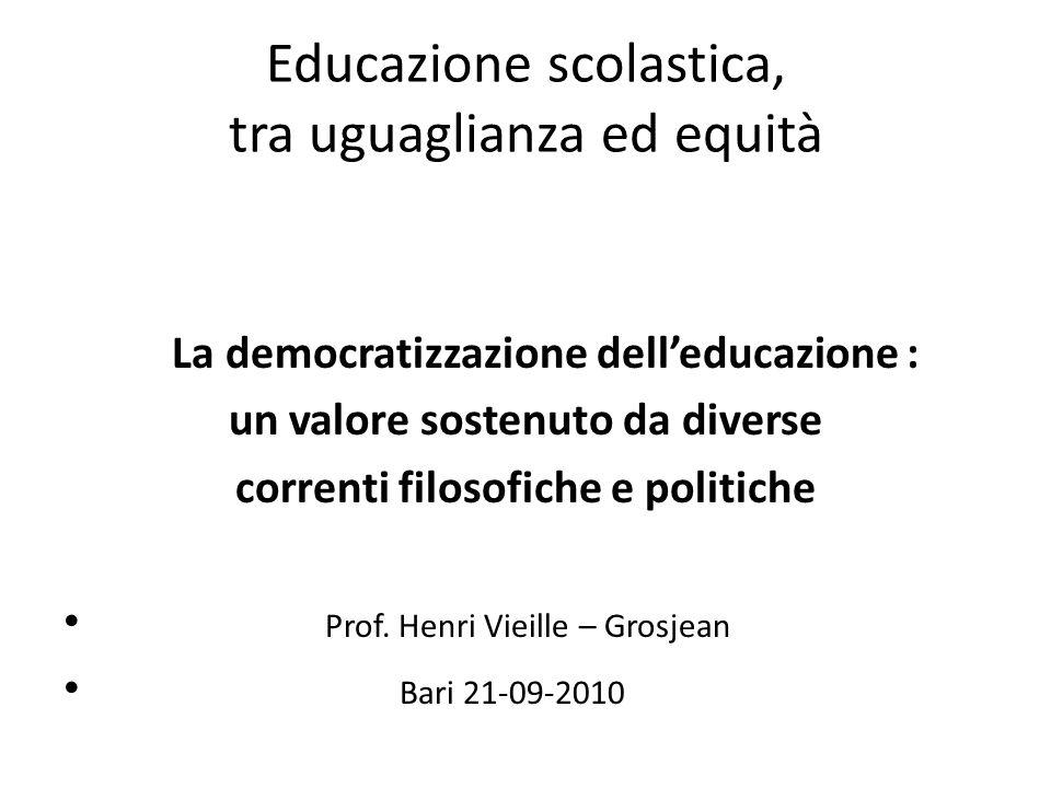Educazione scolastica, tra uguaglianza ed equità
