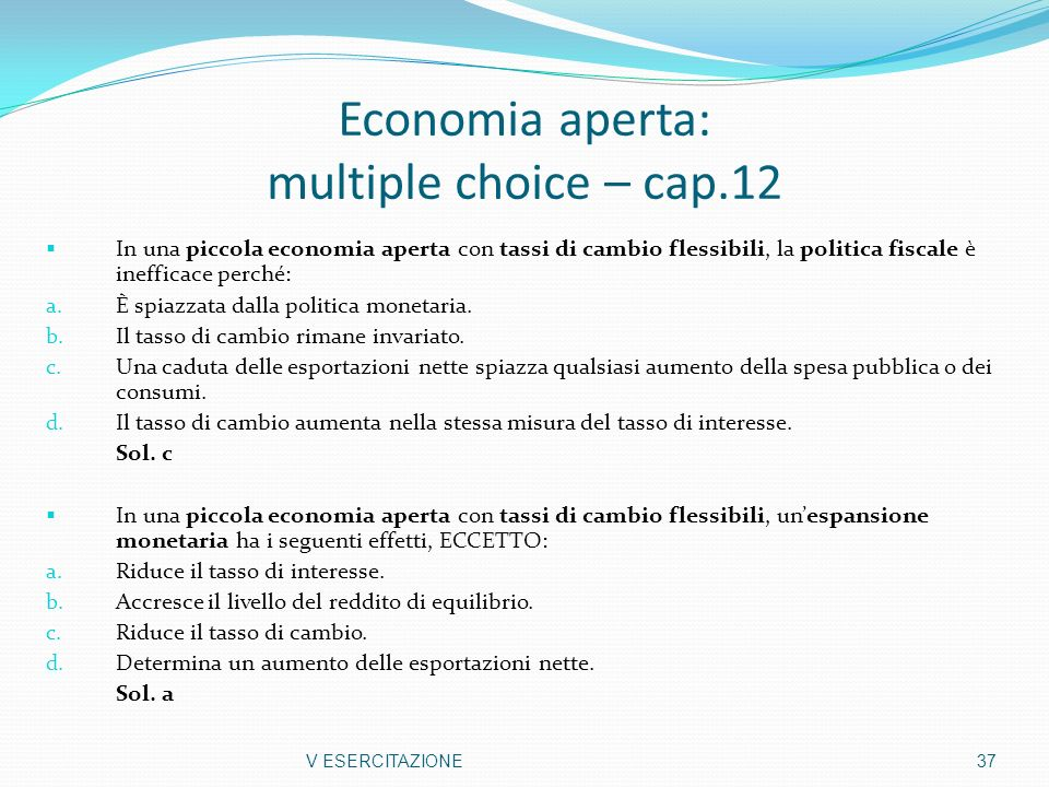 Economia aperta: multiple choice – cap.12