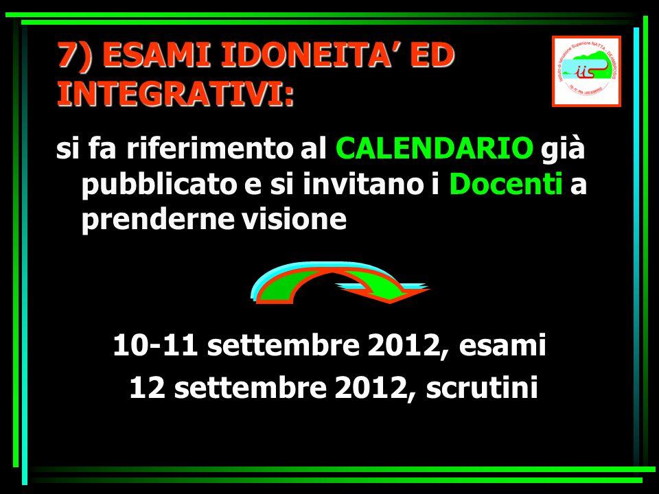 7) ESAMI IDONEITA' ED INTEGRATIVI: