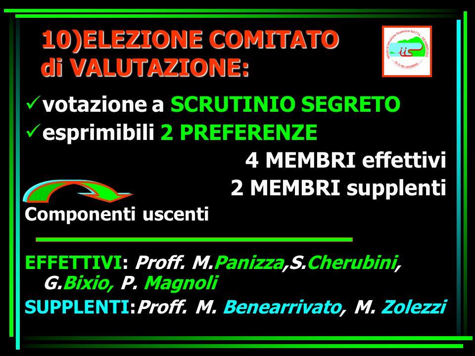10)ELEZIONE COMITATO di VALUTAZIONE: