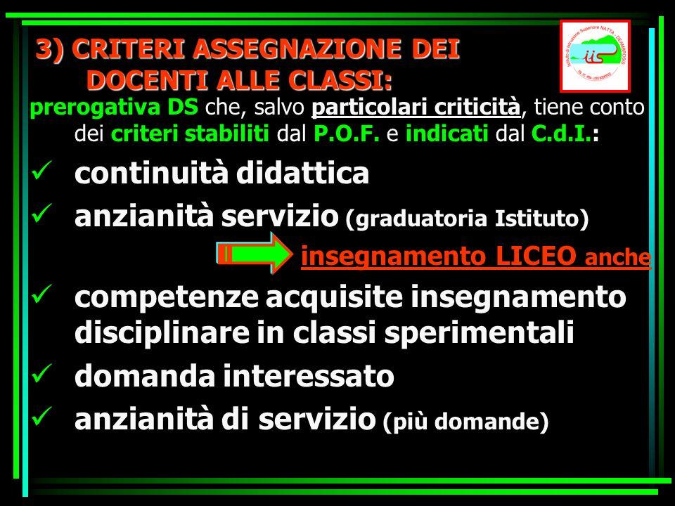 3) CRITERI ASSEGNAZIONE DEI DOCENTI ALLE CLASSI: