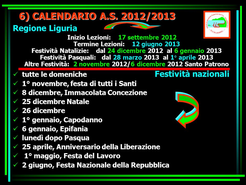6) CALENDARIO A.S. 2012/2013 Regione Liguria