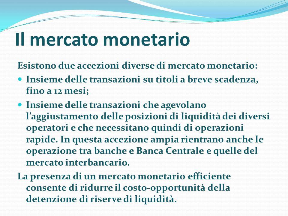Il mercato monetario Esistono due accezioni diverse di mercato monetario: Insieme delle transazioni su titoli a breve scadenza, fino a 12 mesi;