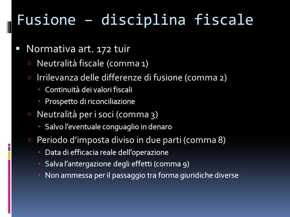 Fusione – disciplina fiscale
