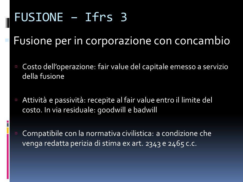 FUSIONE – Ifrs 3 Fusione per in corporazione con concambio