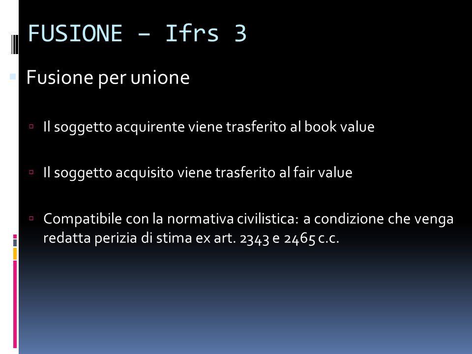 FUSIONE – Ifrs 3 Fusione per unione