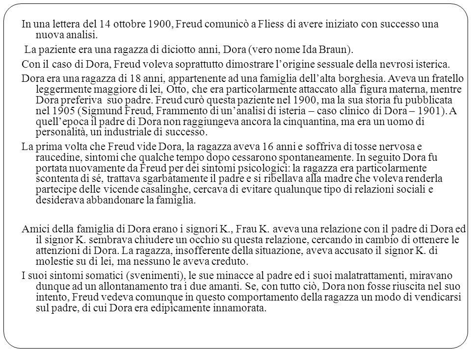 In una lettera del 14 ottobre 1900, Freud comunicò a Fliess di avere iniziato con successo una nuova analisi.