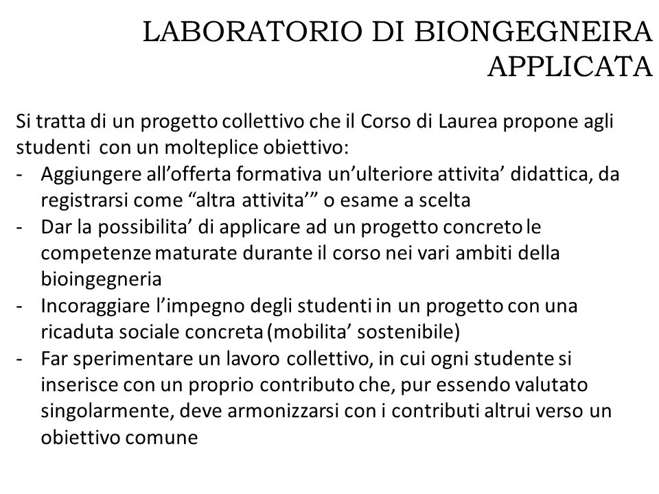 LABORATORIO DI BIONGEGNEIRA APPLICATA
