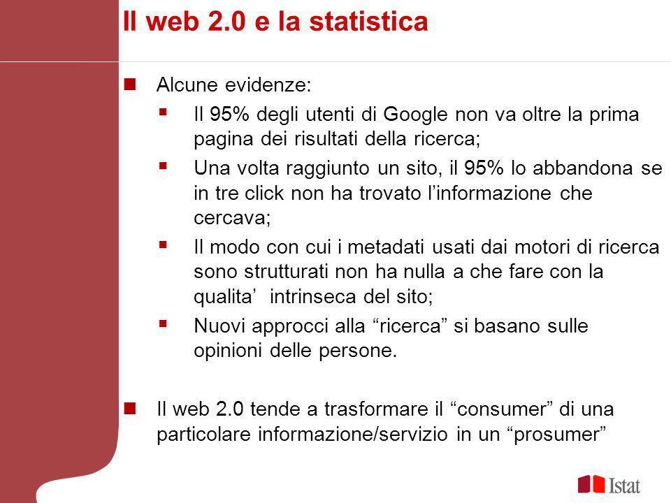 Il web 2.0 e la statistica Alcune evidenze: