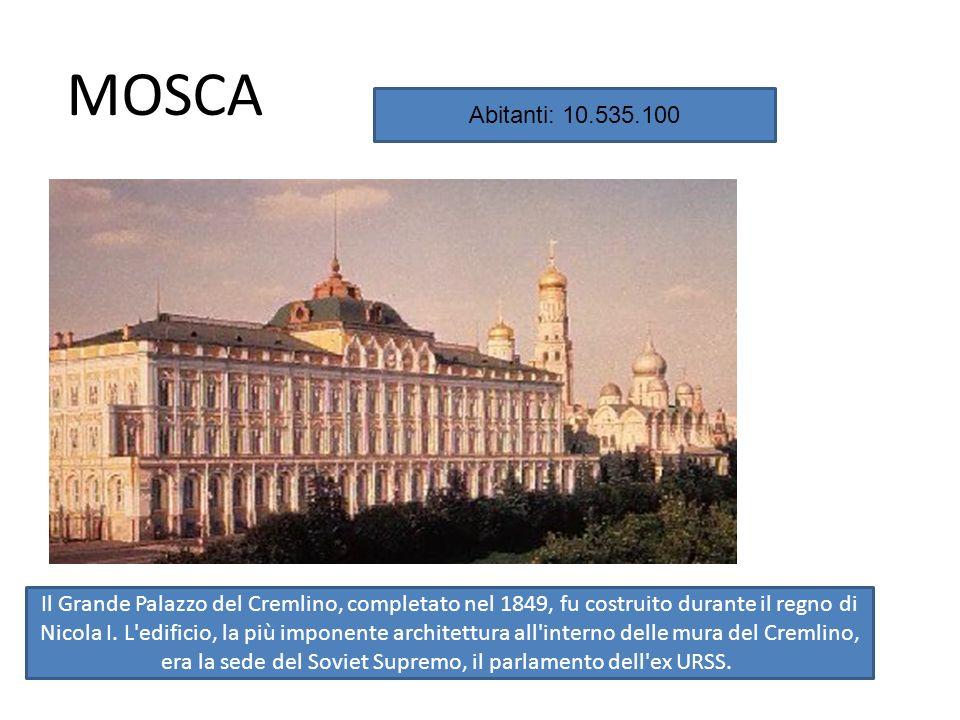 MOSCA Abitanti: 10.535.100.