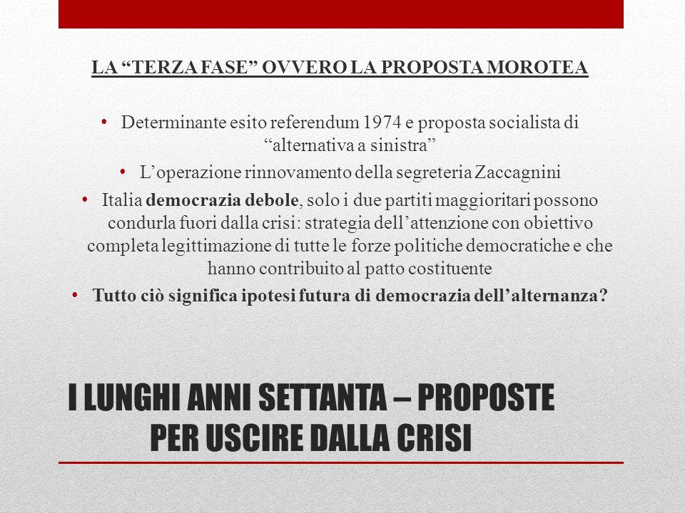 I LUNGHI ANNI SETTANTA – PROPOSTE PER USCIRE DALLA CRISI