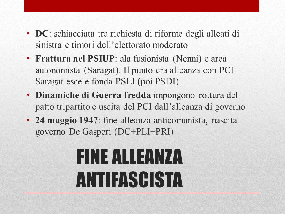 FINE ALLEANZA ANTIFASCISTA
