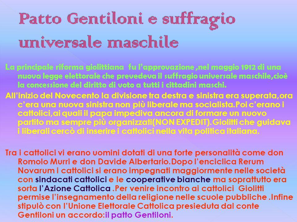 Patto Gentiloni e suffragio universale maschile