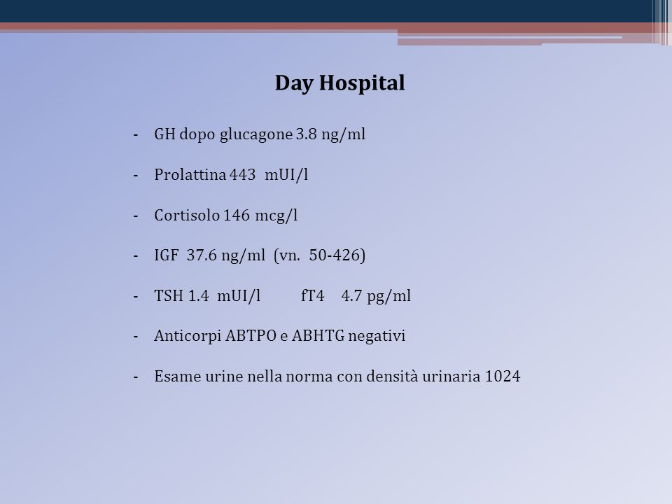 Day Hospital GH dopo glucagone 3.8 ng/ml Prolattina 443 mUI/l