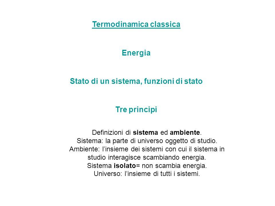 Termodinamica classica Stato di un sistema, funzioni di stato