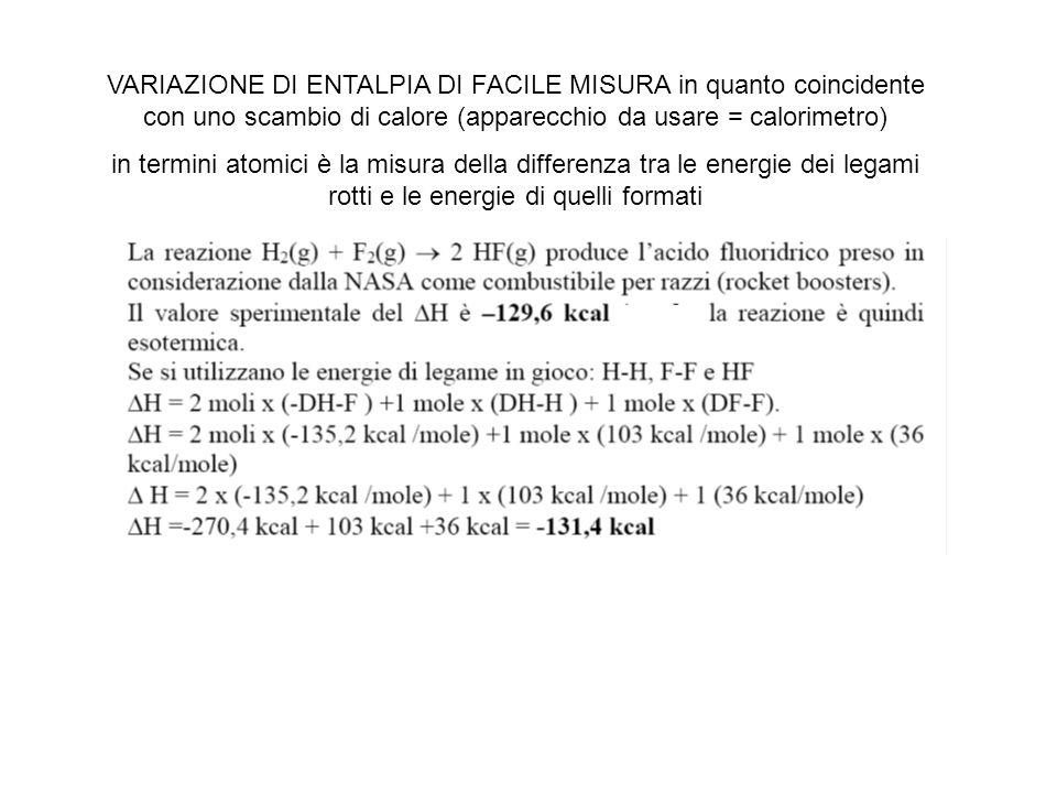 VARIAZIONE DI ENTALPIA DI FACILE MISURA in quanto coincidente con uno scambio di calore (apparecchio da usare = calorimetro)