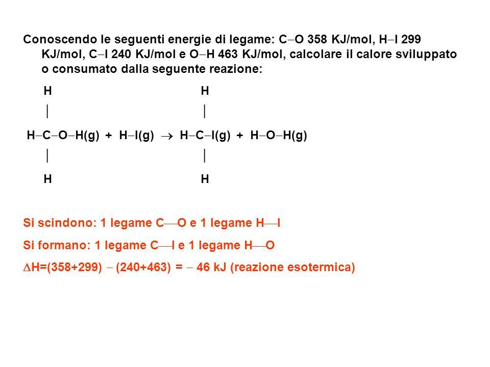 Conoscendo le seguenti energie di legame: CO 358 KJ/mol, HI 299 KJ/mol, CI 240 KJ/mol e OH 463 KJ/mol, calcolare il calore sviluppato o consumato dalla seguente reazione: