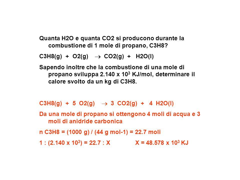 Quanta H2O e quanta CO2 si producono durante la combustione di 1 mole di propano, C3H8