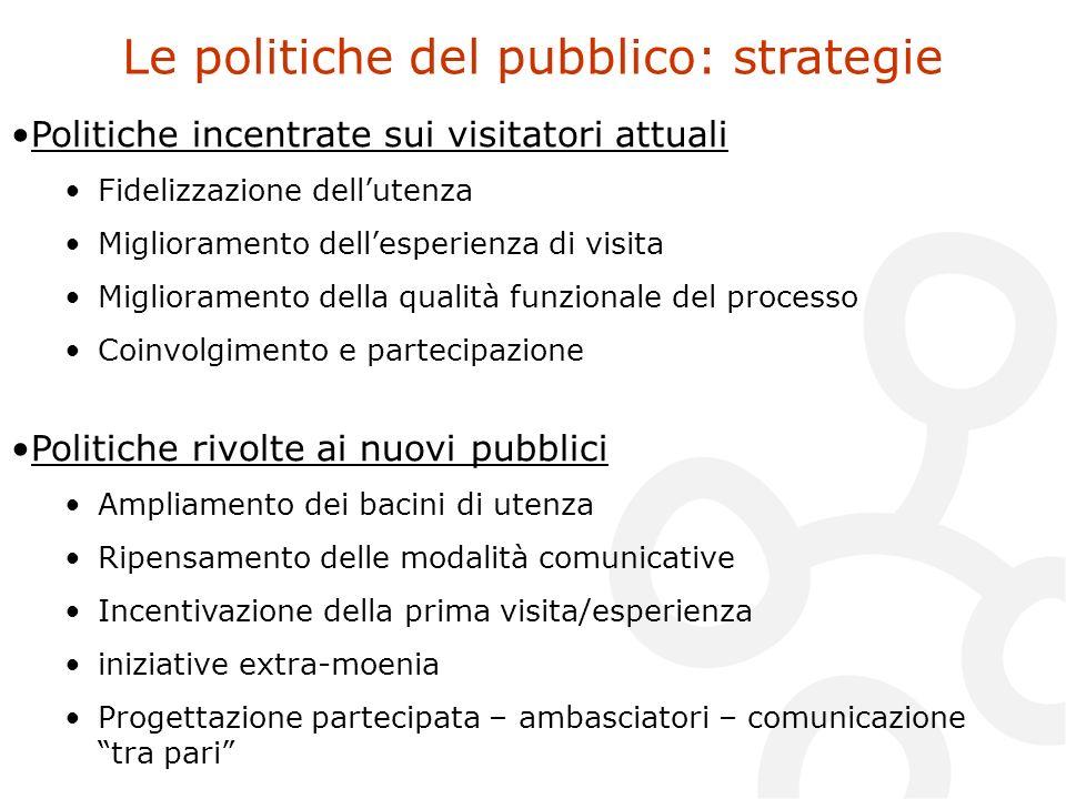 Le politiche del pubblico: strategie