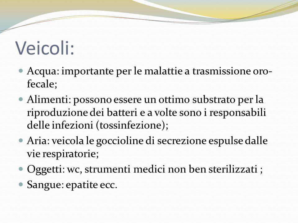 Veicoli: Acqua: importante per le malattie a trasmissione oro-fecale;