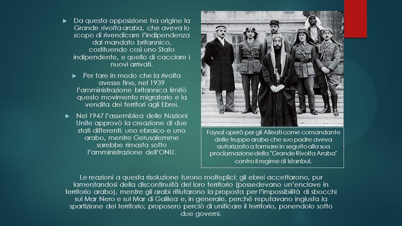 Da questa opposizione ha origine la Grande rivolta araba, che aveva lo scopo di rivendicare l'indipendenza dal mandato britannico, costituendo così uno Stato indipendente, e quello di cacciare i nuovi arrivati.