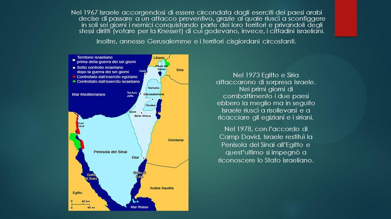 Inoltre, annesse Gerusalemme e i territori cisgiordani circostanti.
