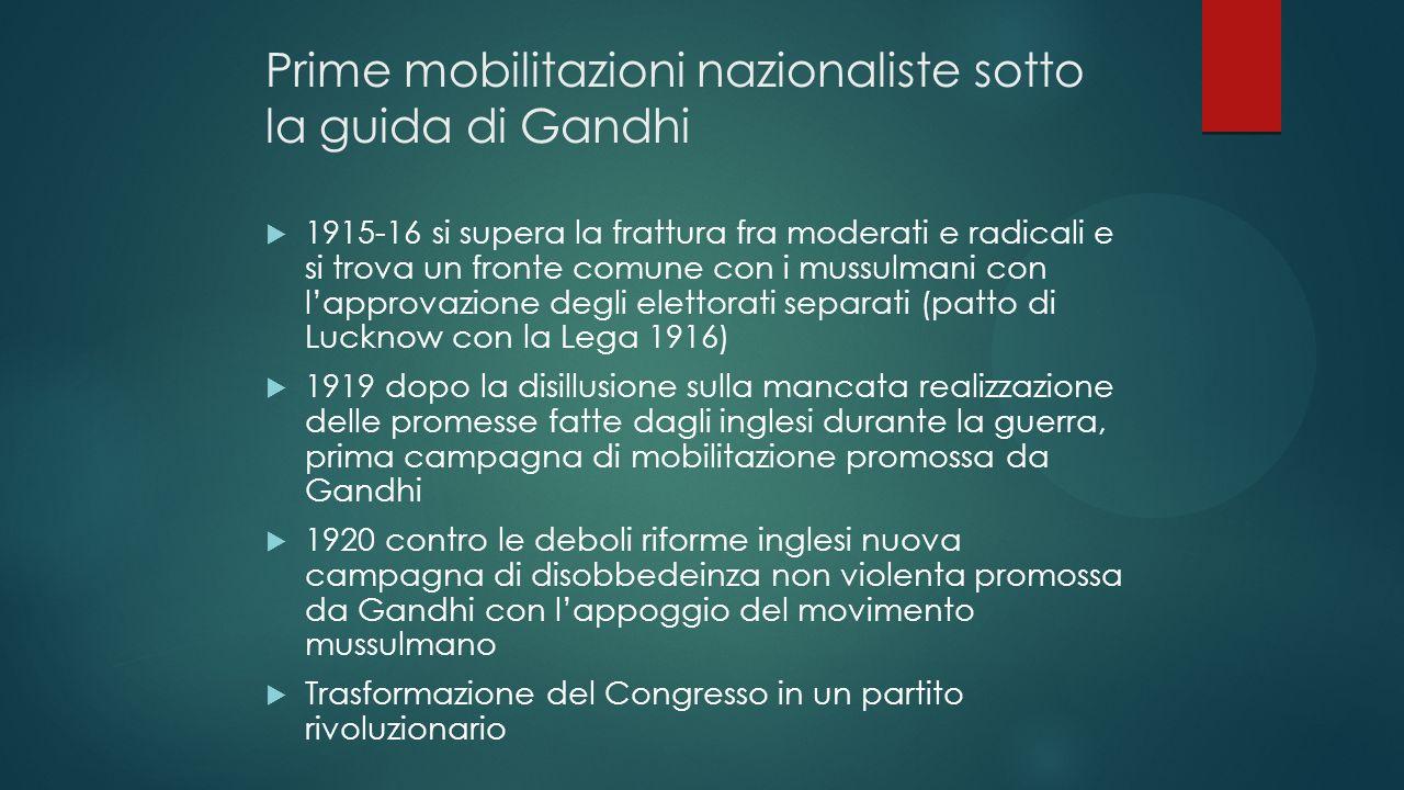 Prime mobilitazioni nazionaliste sotto la guida di Gandhi