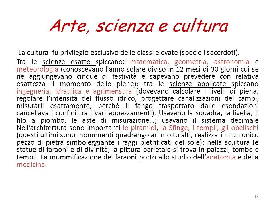 Arte, scienza e cultura La cultura fu privilegio esclusivo delle classi elevate (specie i sacerdoti).
