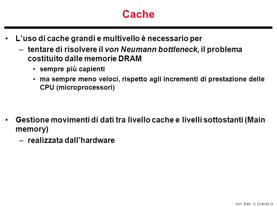 Cache L'uso di cache grandi e multivello è necessario per