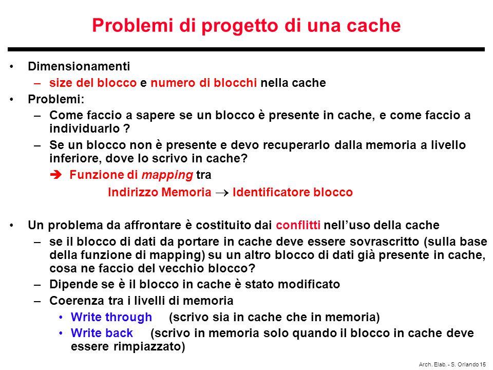 Problemi di progetto di una cache