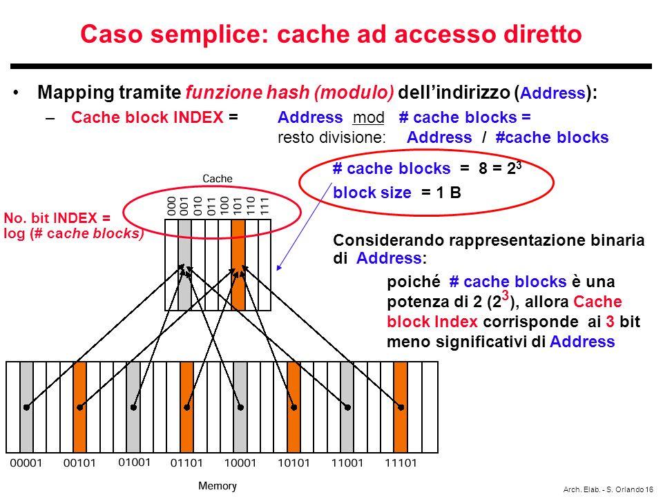 Caso semplice: cache ad accesso diretto