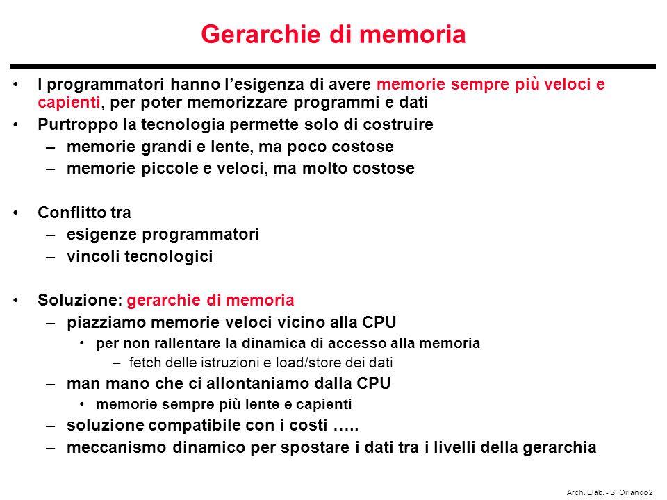 Gerarchie di memoria I programmatori hanno l'esigenza di avere memorie sempre più veloci e capienti, per poter memorizzare programmi e dati.
