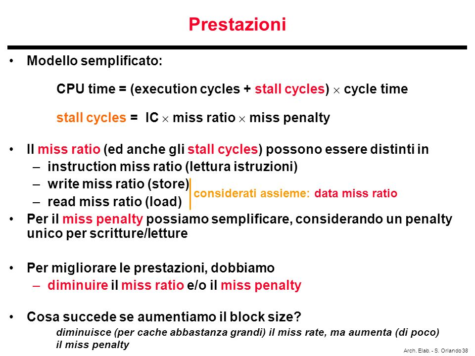 Prestazioni Modello semplificato: CPU time = (execution cycles + stall cycles)  cycle time stall cycles = IC  miss ratio  miss penalty.