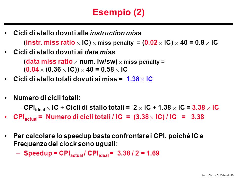 Esempio (2) Cicli di stallo dovuti alle instruction miss
