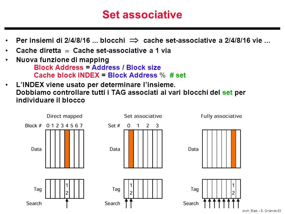 Set associative Per insiemi di 2/4/8/16 ... blocchi  cache set-associative a 2/4/8/16 vie ... Cache diretta  Cache set-associative a 1 via.